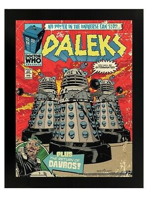 Doctor Who Poster The Daleks Comic Black Wooden Mini Dr Who 35x45cm