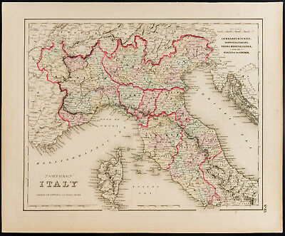 Antique Map (1857) Italy North [Colton] . Antique Map Northern Italy