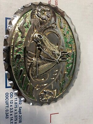 Vintage Womans Belt Buckle , Horse & Flowers