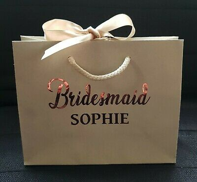 Personalised Wedding Bags Luxury Gift Bridesmaids Hen Party Flowergirl Rose Gold