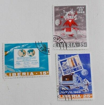 STAMPS  LIBERIA  LOT of 3  -  SPACE  1969
