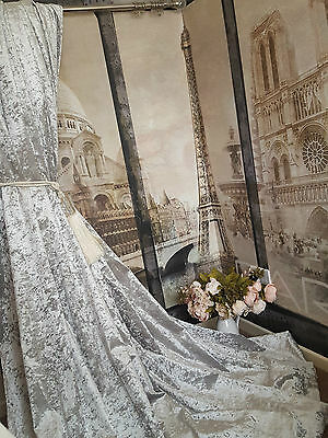 """Heavenly Heavy Ice Grey Crushed Velvet 113""""D 52""""W Blackout Lined Long Curtains"""