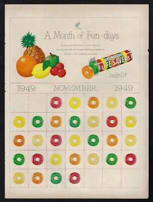 Vintage 1949 LIFE SAVERS Candy Ad - A Month of Fun Days - November 1949 Calendar