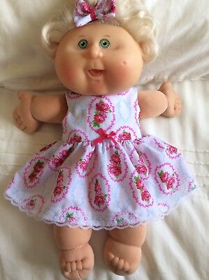 """DOLLS CLOTHES TO FIT 14"""" CABBAGE PATCH DOLL -  Dress, Hair Bow - Pink ~  Roses"""