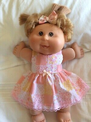 """DOLLS CLOTHES TO FIT 14"""" CABBAGE PATCH DOLL -  Dress, Hair Bow - Peach Patchwo"""