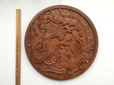 """19"""" Vintage Chinese Hand Carved Dragon & Phoenix Boxwood Plate Wall Hanging"""