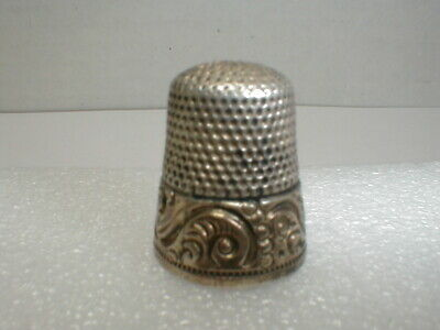 Old Sterling Silver Thimble - Size 9 K & M D / Ketcham & McDougall GOLD BAND