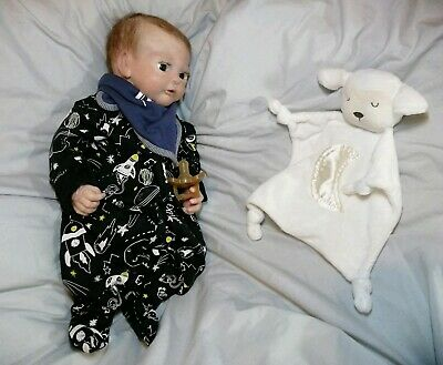 Full Body Silicone Baby Boy Doll Harley Sculpt Rooted Open Eyes Tiny Baby Size