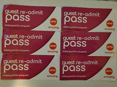 Lot of 6 AMC THEATERS RE-ADMIT MOVIE TICKETS PASSES - TICKET EXP 9/30/2019