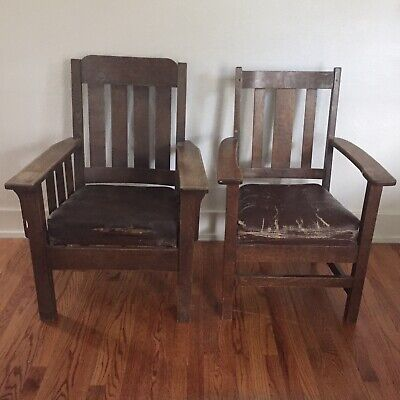 Pair Of Vintage MISSION Style ARTS & CRAFTS Oak Wood Leather Side Arm Chairs