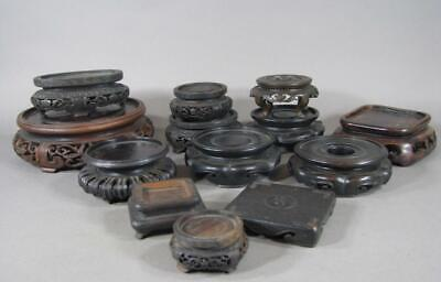 Nice Lot Of 13 Antique Chinese Carved Wooden Display Stands, Some Japanese