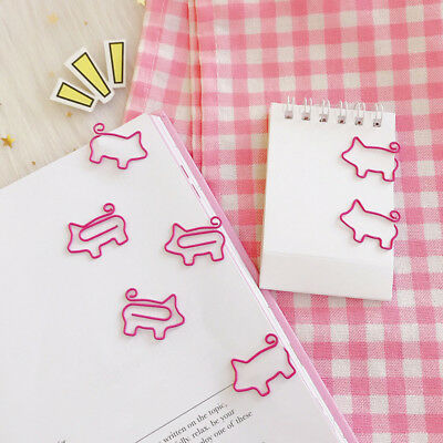10pcs/lot Cute Pig Pink Bookmark Paper Clip Hollow Out Metal Binder Clips Trendy