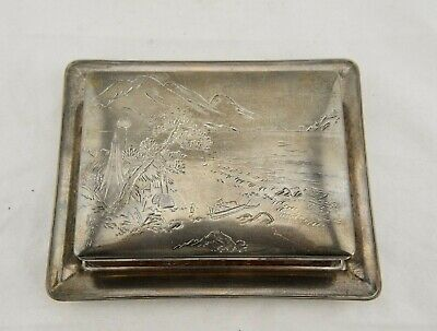 Signed Meiji Japanese rosewood & jungin silver etched scene lidded box and plate