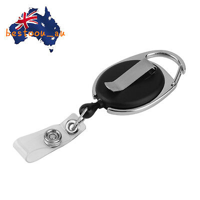 Retractable Reel Pull Key ID Card Badge Tag Clip Holder Carabiner Style MD