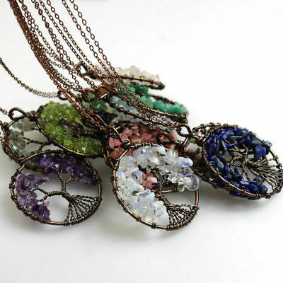 Natural Amethyst Aquamarine Garnet Chips Beads Tree of Life Pendant Necklace