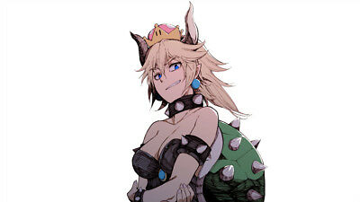 Video Game  Bowsette  Horns  Super Mario Silk Poster 24 X 14 inch Wallpaper