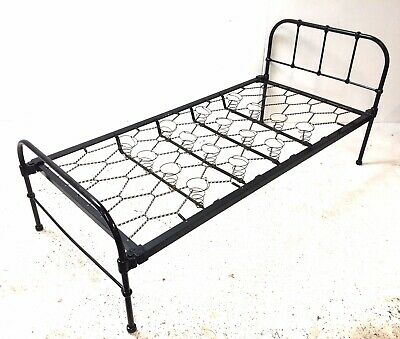 Antique 19th Century Black Cast Iron 6' X 3' Bohemian Industrial Single Bed