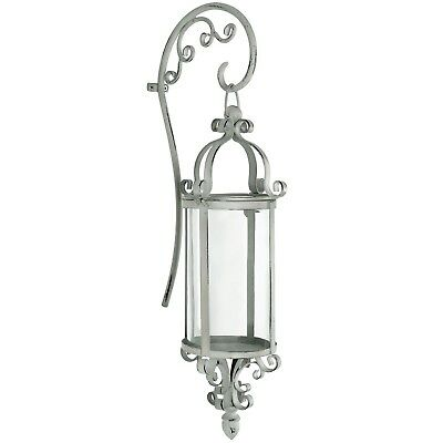 Vintage Cream Ornate Decoration Metal Glass Lantern Candle Holder Wall Sconce