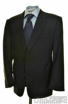 HICKEY FREEMAN Gray Striped 100% Wool Jacket Pants SUIT Mens - 44 R
