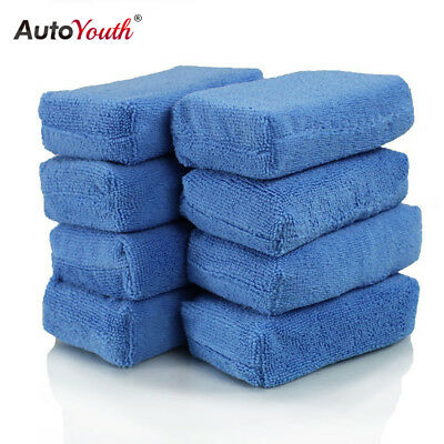 8PCs Car Kitchen Cleaning Sponge Decontamination Blue Cloth Scouring Pad