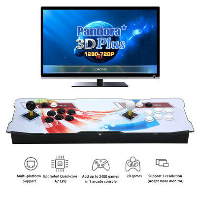 3D Pandora Plus Arcade Game Console with 2400 Retro Games,Favorite List, Full HD