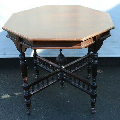 1910 Mahogany 8 Sided Occasional Table