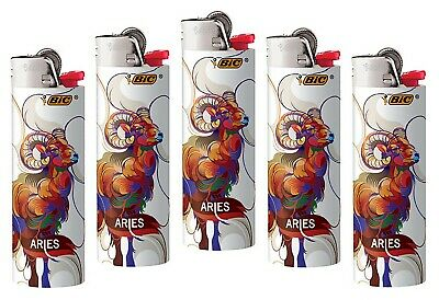 BIC ARIES HOROSCOPE Lighters 5pk, New 2019-2020 Astrology Design as pictured