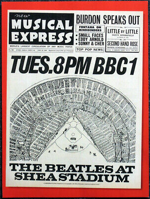 The Beatles Poster Page . Nme 25 Feb 1966 Shea Stadium Concert Front Cover . 6O