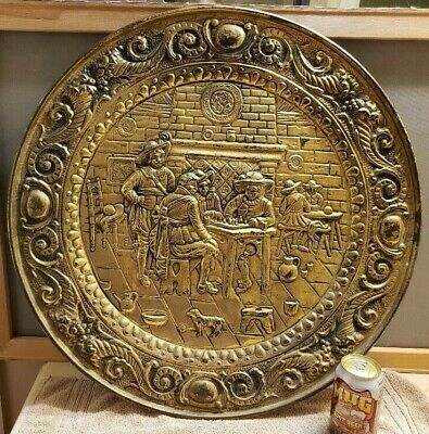 "3 Hammered Embossed Brass Round Plates Colonial Tavern Pubs 24"" 17"" 9.5"""