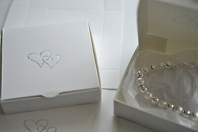Jewellery Gift Boxes, White, With Hearts, Flat pack  (D.17)
