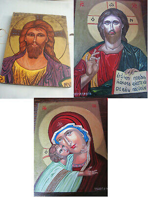 Original Icon Oil Painting On Board Jesus Madonna Signed Certificates