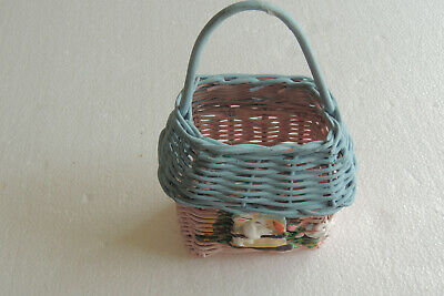 Painted Wicker Basket With Lace Wedding Party Favors Decoration Easter 2pcs//pkg