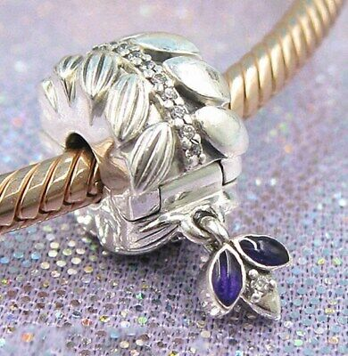 925 Sterling Silver Grains Of Energy Clip Clear CZ & Purple Enamel Charm Spring