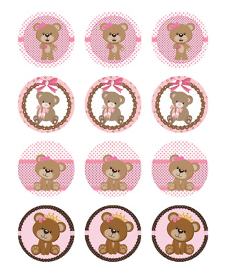 TEDDY BEARS EDIBLE RICE WAFER PAPER CUP CAKE TOPPER X30