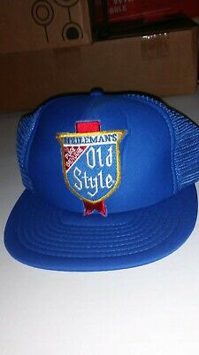 a219b7066386a Vintage Heileman s Old Style Beer Blue Mesh Snapback Hat Cap Trucker  Pre-Owned