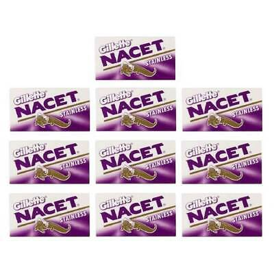 100 Gillette Nacet Stainless Steel Double Edge Razor Blades FAST SHIPPING