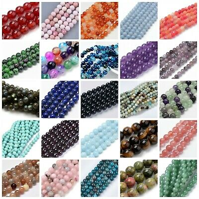 Gemstone Round Beads 6mm or 8mm 1 x Strand Premium Quality BUY 4 GET 1 FREE!