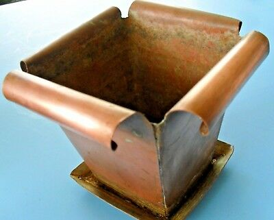 Arts & Crafts*MISSION Copper HAND FORGED~SQUARE FLOWER POT*PLANTER*W/ DRIP TRAY