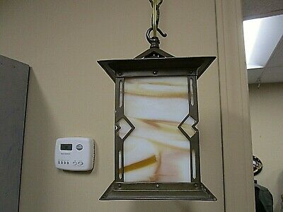 Antique 1910 Arts Crafts Mission Style Pendant Light