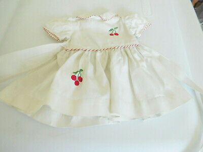 Vintage White Cotton Dress w/ Cherries for Medium Size Doll