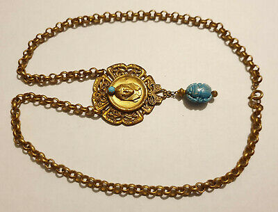 Vintage Art Deco Style Egyptian Revival Blue Glass Scarab Pendant Necklace