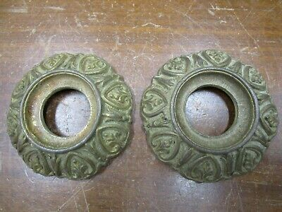 Vintage Pair Of Cast Brass Escutcheons - Awesome Detail - Chandelier  Parts