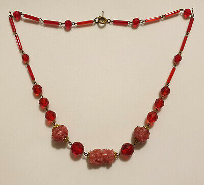 Vintage Original Art Deco Czech Cranberry and Moulded Pink Glass Bead Necklace