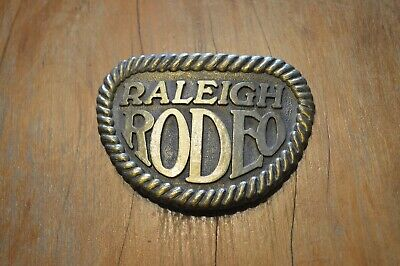 Vintage Raleigh Rodeo Brass Belt Buckle,Cigarette Advertising New W/O Packaging