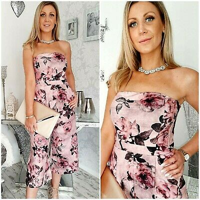 5f3fb3ad0c9d Next Size Uk 10 14 16 18 Regular Floral Rose Bandeau Culotte Jumpsuit Bnwt  (100