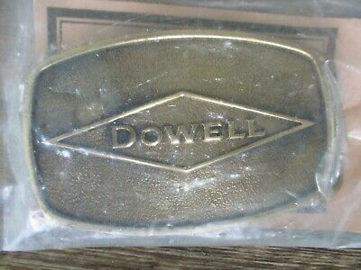 New Nip Sealed Vintage 1978 ***Dowell*** Chemicals Solid Brass Oilfield Buckle