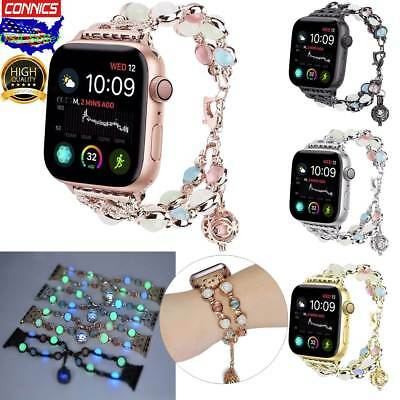 For Apple Watch Band 40 38mm Women Luminous Night Pearl Bracelet Series 4 3 2 1