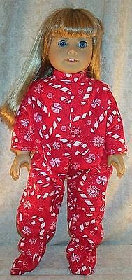 "Doll Clothes Made 2 Fit American Girl 18"" inch Pajamas Candy Canes Red White"