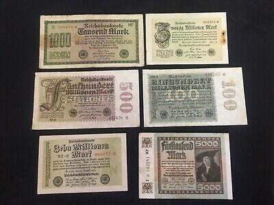 "Rare lot of 6 ""STAR & Low serial number "" banknotes 1922-1923  circulated"