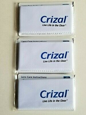 (3) Brand New Sealed GENUINE CRIZAL Microfiber Eyeglass/Sunglass Cleaning Cloths